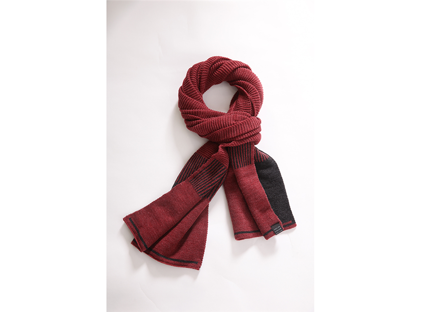 AA235撞色編織圍巾酒紅