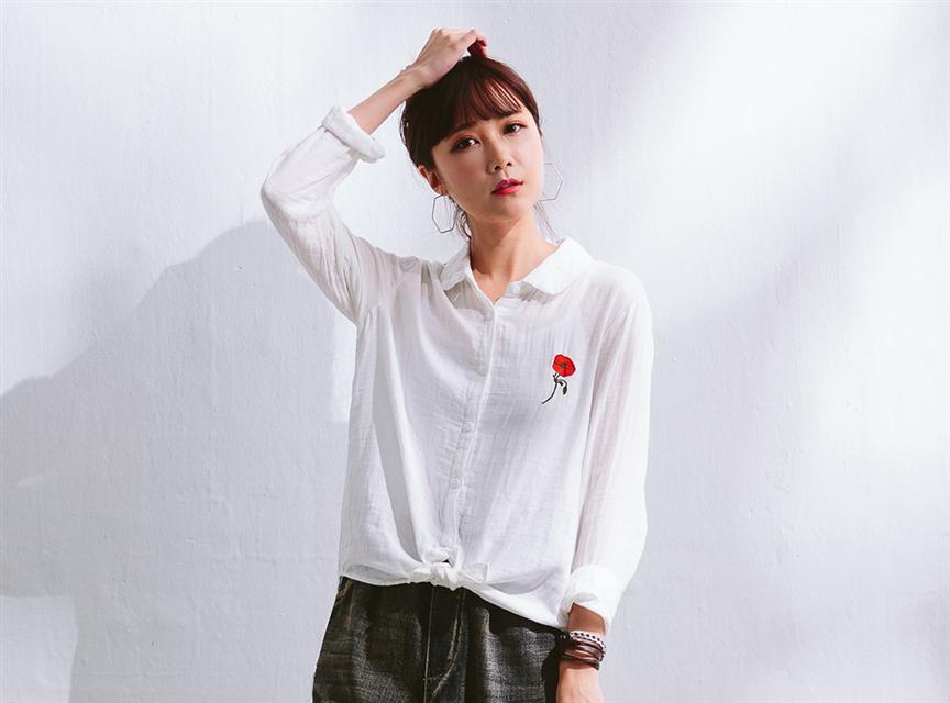 MM 紅花刺繡襯衫