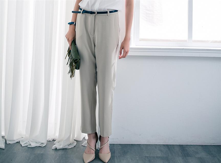 taupe純色彈性筆直俐落西裝長褲