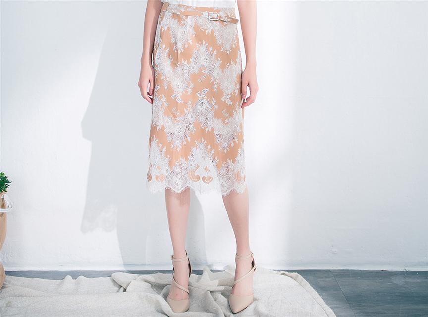 OL通勤精緻緹花蕾絲造型開叉半身裙