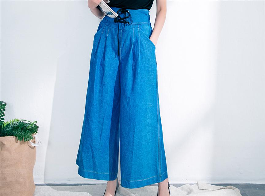 韓國高腰綁帶修身丹寧口袋長寬褲