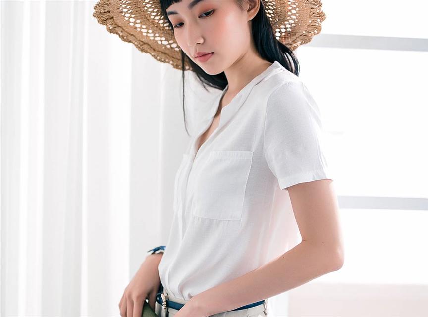 純色V領寬鬆竹節棉短袖T恤打底衫