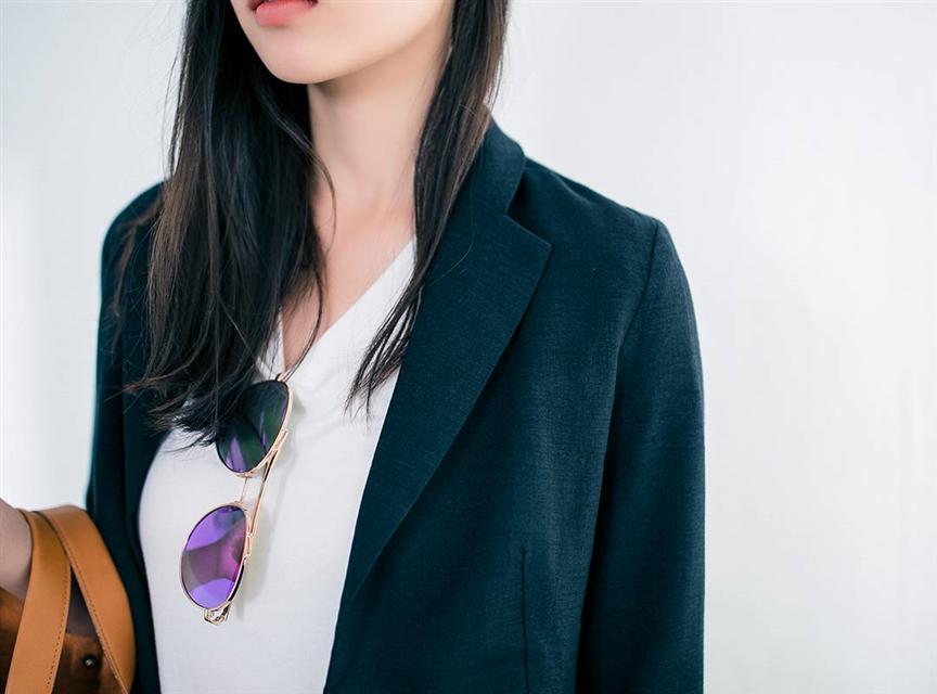純色棉麻反摺修身七分袖西装外套