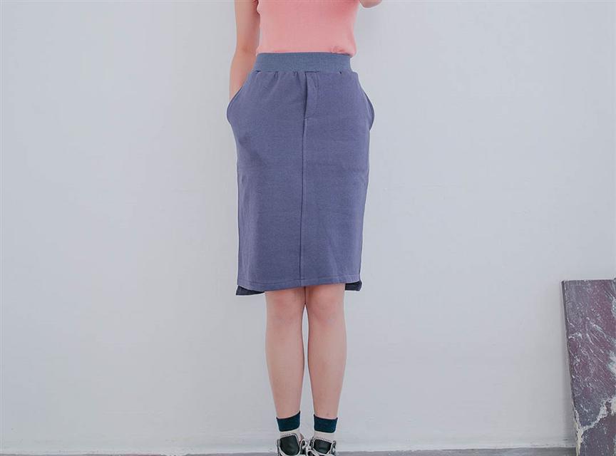 純色百搭高腰修身雙口袋A字中長裙
