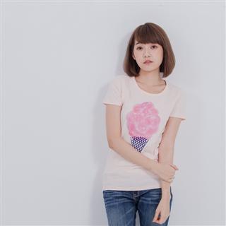 棉花糖冰淇淋短袖蜜桃棉女T/桔粉