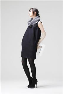 深藍色無袖羊毛混紡蛹型洋裝