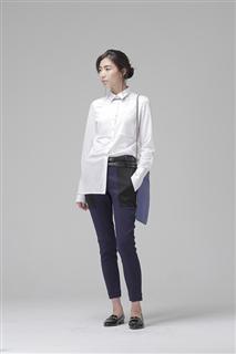 白色高支數純棉針織長版襯衫
