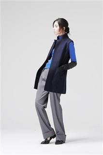 藍綠雙面料切邊背心外套