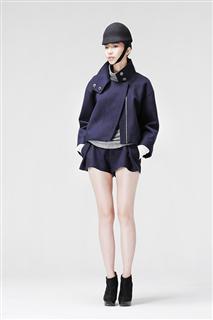 深藍色高領切邊外套