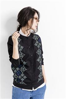 幾何印花拼接外套