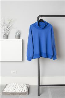 B.L.經典刺繡高領衛衣-藍