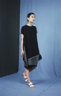 灰黑拼接造型洋裝