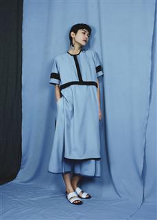 藍黑拼接長短洋裝