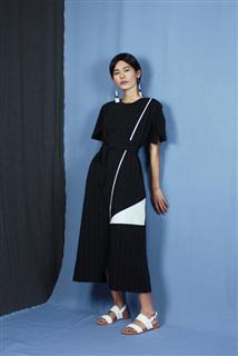 直條紋拼接長洋裝