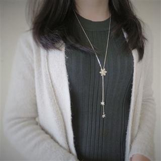 聖誕星星雪花 - Y字鍊款 (純銀項鍊)