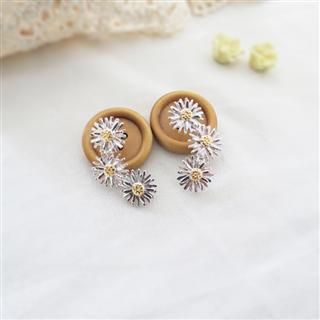 小雛菊的春天 (純銀鍍色耳環)