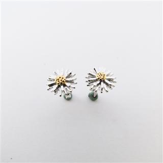 小雛菊的春天-單朵 (純銀鍍色耳環)