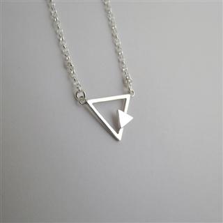 裸系-三角形 雙幾何 (純銀項鍊)