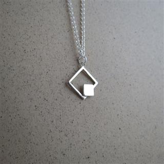 裸系-正方形 雙幾何 (純銀項鍊)