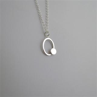 裸系-圓形 雙幾何 (純銀項鍊)