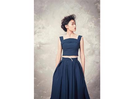 打摺寬裙(藍)