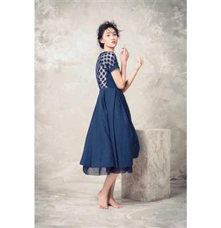 A-line 拼袖洋裝(藍)