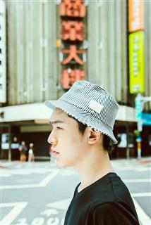 條紋丹寧漁夫帽