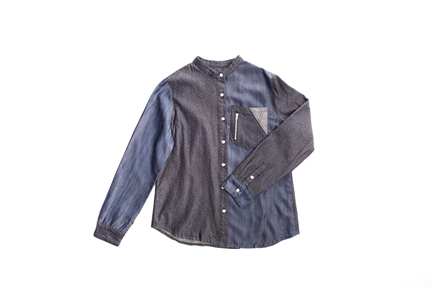 IS01立領拼接襯衫 (點點X午夜藍) -女款