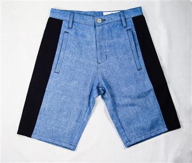 幾何拼接短褲-牛仔藍