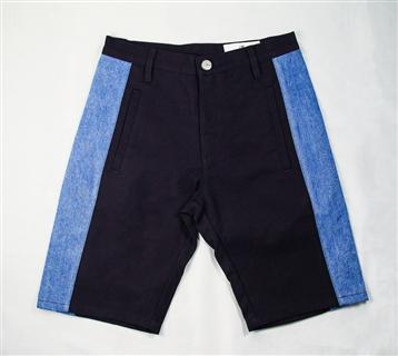 幾何拼接短褲-黑
