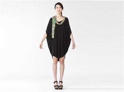 橢圓圍巾設計洋裝/上衣(黑)