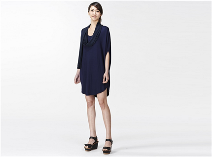 橢圓圍巾設計洋裝/上衣(藍)