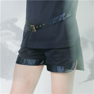 有機棉緞面滾邊短褲/深藍