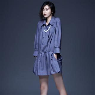 靛藍緹花有機棉長版襯衫
