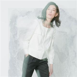 有機棉法式荷葉珍珠釦外套
