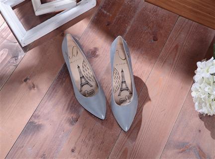 Cinderella-璀璨光感藍-光澤感羊皮尖頭高跟鞋