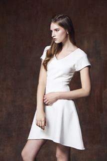 白拼接短洋裝