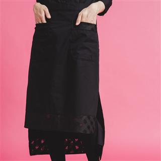 禮想框格 - 黑網格前短後長八分A字裙