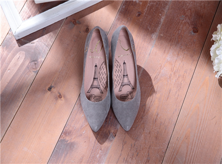 Cinderella-知性迷霧灰-壓紋羊皮尖頭高跟鞋