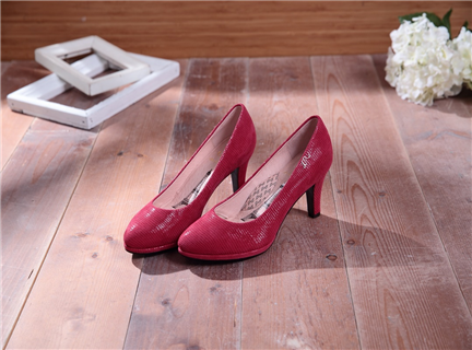 Bella-時尚紅-壓紋羊皮微尖頭真皮高跟鞋