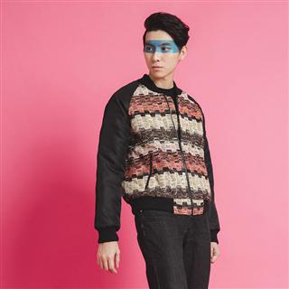脈動音波-混色粗織鋪棉飛行夾克