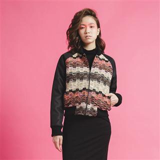脈動音波-混色粗織鋪棉短版飛行夾克