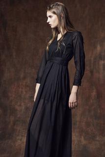 黑棉V領長洋裝
