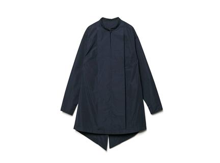 立領開衩襯衫(深藍)