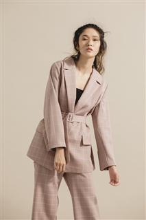 細格紋西裝外套-附腰帶