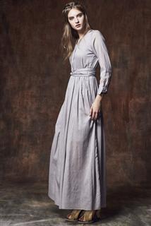 灰V領長洋裝