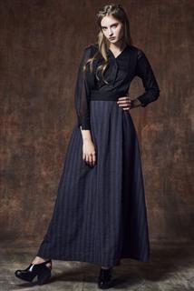 紫黑條紋吊帶裙