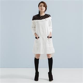 禮想框格 – 斜肩黑網格亞麻翻領白洋裝