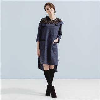 禮想框格 – 斜肩黑網格亞麻翻領藍洋裝