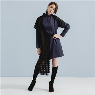 禮想框格 – 黑網格拼接亞麻洋裝